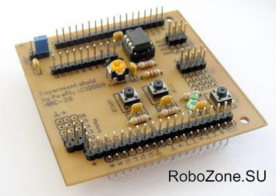 Cхема и печатная плата дополнительного универсального модуля для робо-контроллера MRC28.