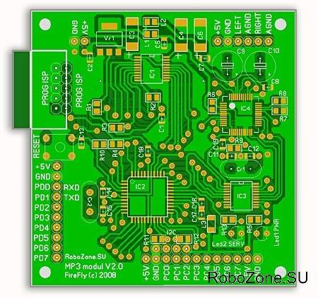 Печатная плата модуля выполнена в двухстороннем варианте с применением SMD комплектующих.