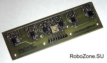 Сенсор определения линии на базе оптических рефлективных датчиков QRD1114